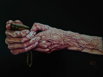 Vanessa Vilchis - Il Tempo Nelle Mani Dell' Esperienza Oil on Canvas, Paintings