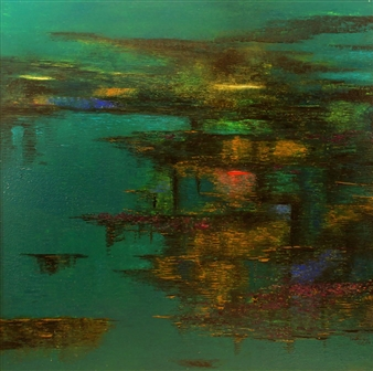 Madhuri Bhaduri - Reflections 2 Oil on Canvas, Paintings
