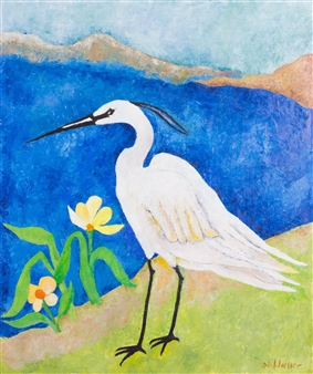 Marliese Scheller - Snowy Egret Oil on Masonite, Paintings