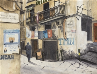 Nancy Holleran - Naples Side Street Watercolor on Paper, Paintings