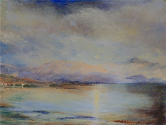 Margret Carde - Looking East at Sunset Oil on Canvas, Paintings