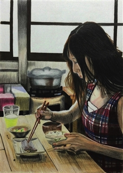 Atsushi Imai - Breakfast Colored Pencil on Paper, Drawings