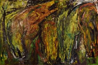 Vasant Dora - Wilderness & Horses Oil on Canvas, Paintings