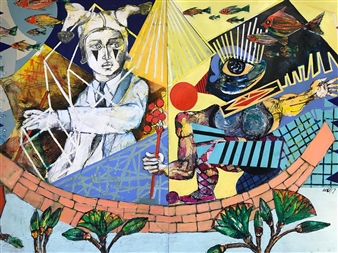 Michael Dolen - Two Circus Figures On The Nile 313D Mixed Media on Paper, Mixed Media