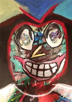 David Morrison - Millennial Apple Acrylic on Canvas, Paintings
