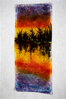 Manolo Ferrer - Sunset Lake Glass Painting, Paintings
