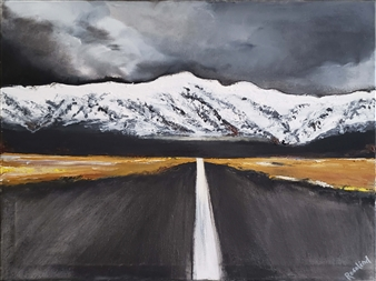Rosalind Panda Dykla - Distant Mountains Getting Closer Oil on Canvas, Paintings