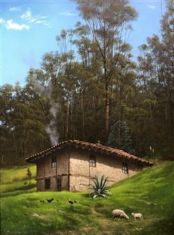 Mauricio Valdiviezo - Casa del Bosque Oil on Canvas, Paintings