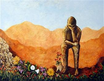 Marc Provisor - My Thinker Oil on Canvas, Paintings