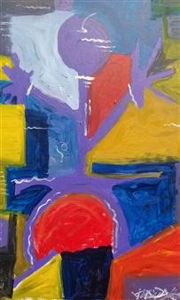 Julian Van Dyke - In Purple Mode Oil on Canvas, Paintings
