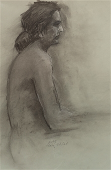 Jutta Ebeling-Dehnhard - Female Semi Nude Charcoal on Paper, Drawings