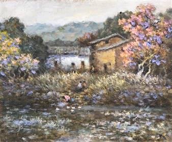 Chijia He - Lotus Pond in the Fall Oil on Canvas, Paintings