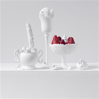 Art Golacki - Still Life in White with Strawberries / second variation Archival Pigment Print, Photography