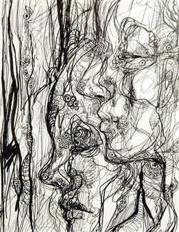Kaoru Kushima - Profiles Pen on Paper, Drawings