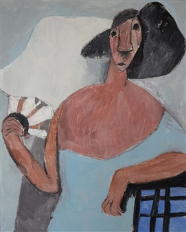 Khac Cuong Le - Woman with Fan Oil and Gouache on Canvas, Paintings