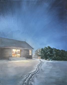 John Britton - Winter Storm in Montauk Oil on Canvas, Paintings