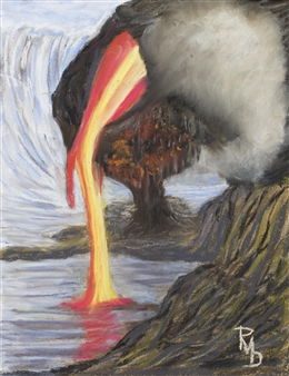Raul Mariaca Dalence - Lava Flowing to the Sea Pastel on Canvas, Paintings