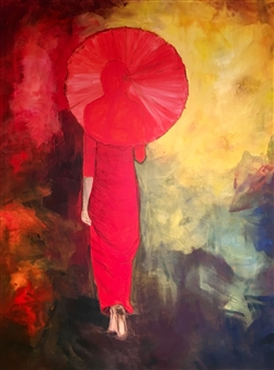 Annette Balsgaard - Red Walking Acrylic on Canvas, Paintings
