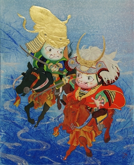 Akinori Ohtsuka - Battle of Kawanakajima Mixed Media on Japanese Paper, Mixed Media