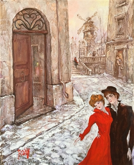 Rody - Lovers in Montmartre Oil on Canvas, Paintings