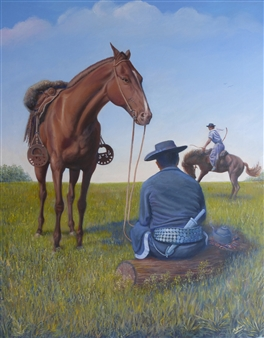 Miguel A. Chavez - Argentinian Gauchos, Dressage Oil on Canvas, Paintings