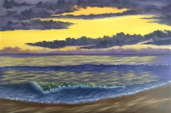 Hezekiah Baker Jr. - Sunlit Ocean Acrylic & Oil on Canvas, Paintings