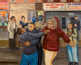 Herold Patrick Alexis - Priye Pou Yo (Pray for Them) Oil on Canvas, Paintings