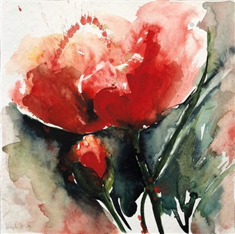 Angela Blattner - Poppy Flowers 5 Watercolor on Paper, Paintings