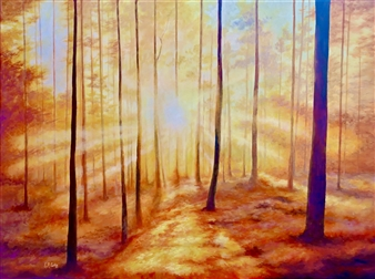 Emily Curtis - Autumn Lights Acrylic on Canvas, Paintings