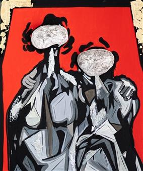 Sahar Khalkhalian - Memories of My Heart (Red) Acrylic &  Mixed Media on Canvas, Mixed Media