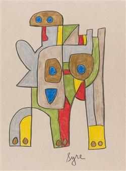 David Syre - Kona Elephant Prisma Crayon on Paper, Drawings