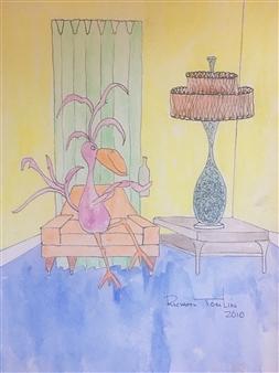 Richard Tomlin - Jessamine Having an Evening Tipple Watercolor on Paper, Paintings