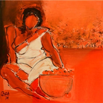 Vasant Dora - NH 33 Tomato Seller 1 Oil on Canvas, Paintings
