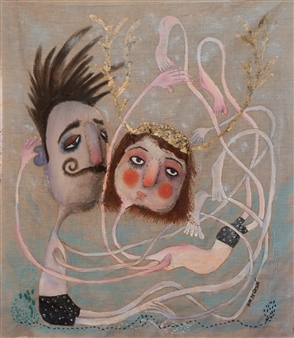 Mar De Redin - Mr Blueberry and Mrs Plum Dolls Mixed Media on Canvas, Mixed Media