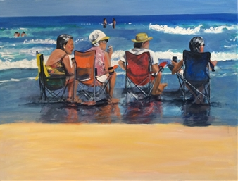 Marlene Kurland - Beach Hangout 4 Oil on Canvas, Paintings
