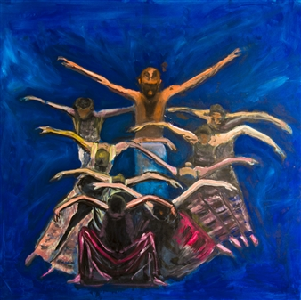 Raul Mariaca Dalence - Dance of Birds Oil on Canvas, Paintings