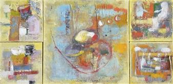 Kerstin Lundin - 2 + 1 + 2 Oil & Mixed Media on Canvas, Mixed Media