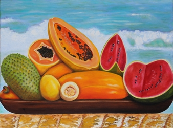 Maria Antonia Mena Lagos - Tropical Fruit Oil on Canvas, Paintings