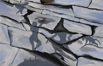 Di Stefano - Ombre 3 (Shadows 3) Acrylic on Wood, Paintings