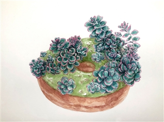 Charmaine Nadine Osaerang - Tricolor Sedum Succulent Donut Watercolor on Paper, Paintings