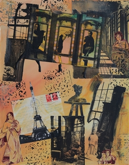 Johanna Wray - Postcard From Paris Acrylic & Collage on Canvas, Mixed Media