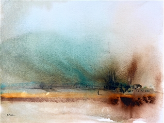 Rine Philbin - Looking West Watercolor on Paper, Paintings