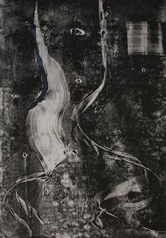 Roberta Caviglia - Black & White Mixed Media on Paper, Mixed Media