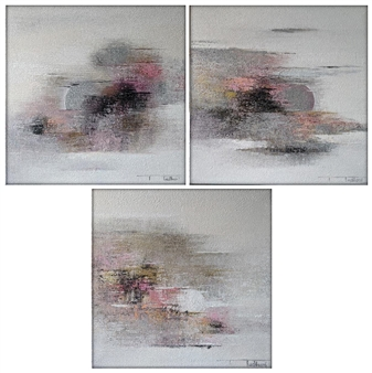Madhuri Bhaduri - The Moon 7, triptych Oil on Canvas, Paintings