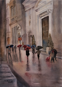 Tammy Phillips - The Avenue Watercolor on Paper, Paintings
