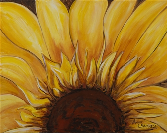 Anne E Chamness - Sunflower Acrylic on Canvas, Paintings