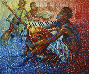 Francis Annan Affotey - Harmony of Culture (framed work) Acrylic on Canvas, Paintings