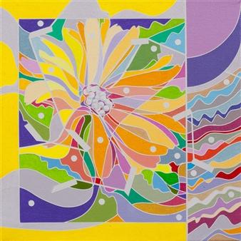 Ai-Wen Wu Kratz - Color Logic II / Yellow Acrylic on Canvas, Paintings