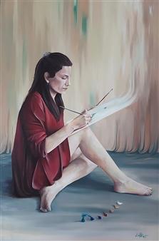 Elisabeth López - Portrait Oil on Canvas, Paintings