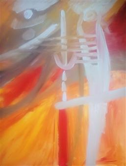 Eduardo Vidal - Abstract Ghost Acrylic & Beads on Canvas, Paintings